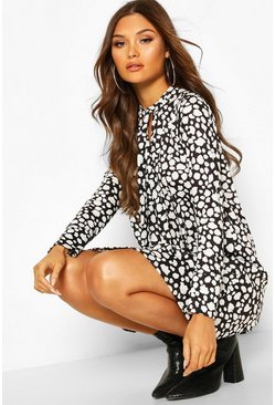 Black Spot Tie Neck Detail Shift Dress