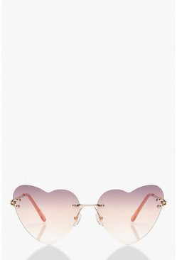 Pink Frameless Heart Sunglasses