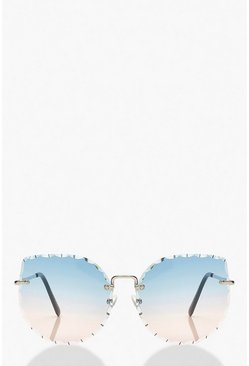 Blue Beveled Edge Frameless Sunglasses