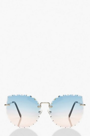 Blue Bevelled Edge Frameless Sunglasses