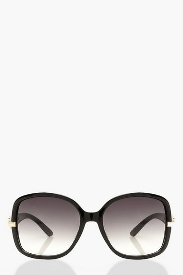 Grey Oversized Chain Detail Sunglasses