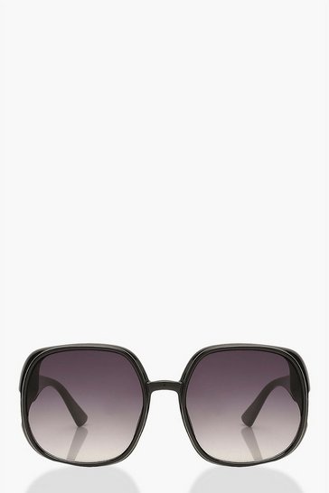 Black Extreme Oversized Square Sunglasses