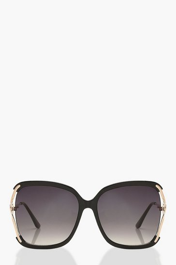 Black Oversized Pearl Detail Sunglasses