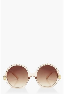 Nude Round Beveled Eye Sunglasses