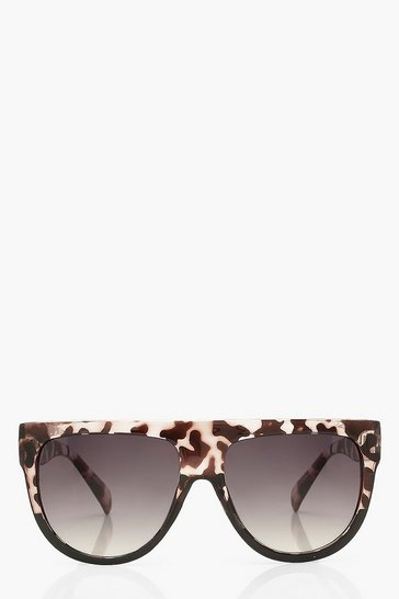 Black Flat Top Animal Print Sunglasses
