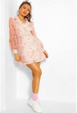 Pink Floral Organza Blazer Dress