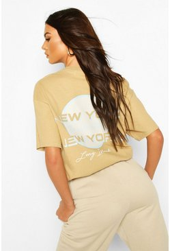 Toffee Oversized Overdyed New York Back Graphic Tee