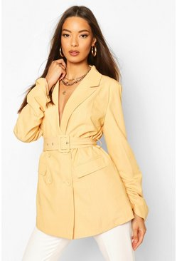Chartreuse Ruched Detail Sleeve Belted Blazer