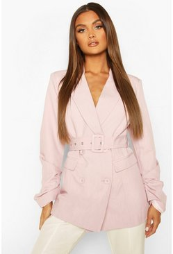 Lilac Ruched Detail Sleeve Belted Blazer