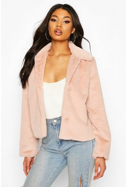 Rose Faux Fur Button Coat