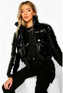 Black High Shine High Neck Crop Puffer Jacket