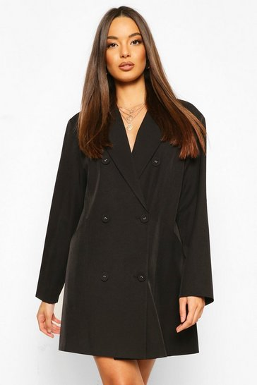 Black Oversized Masculine Fit Blazer Dress