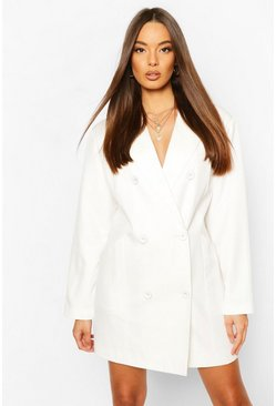 Ivory Oversized Masculine Fit Blazer Dress