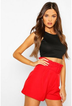 Red Flippy Paperbag Waist Shorts
