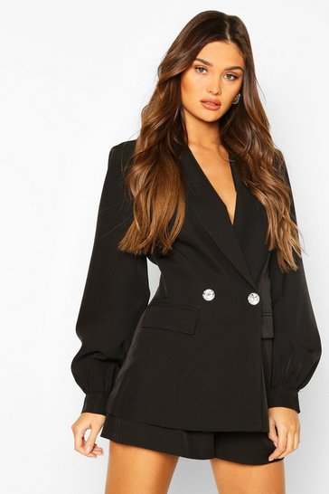 Black Volume Sleeve Diamante Button Blazer