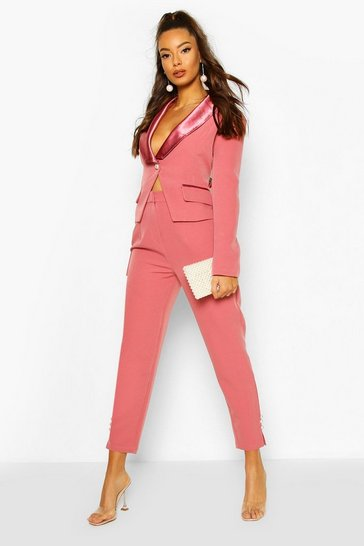 Blush Satin Pearl Detail Tapered Trouser