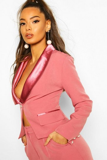 Blush Satin Pearl Button Detail Blazer