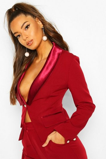 Red Satin Pearl Button Detail Blazer