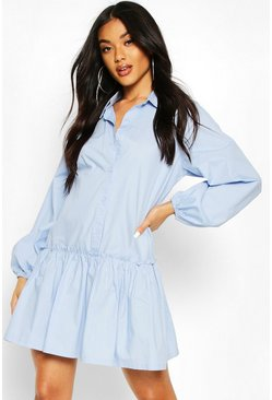 Blue Frill Hem Cotton Shirt Dress
