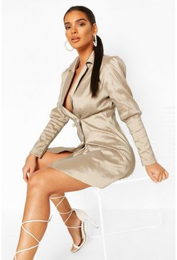 Champagne Volume Sleeve Pearl Button Blazer Dress