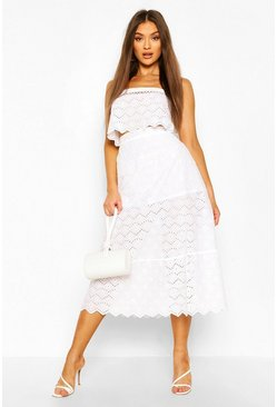 White Broderie Lattice Detail Crop And Midi Skirt Co-ord