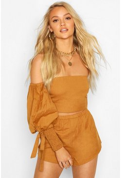 Tan Linen Shirred Puff Sleeve Top & Shorts Co-ord