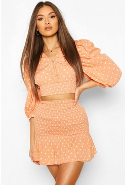 Peach Polka Dot Shirred Puff Sleeve Top And Skirt Two-Piece