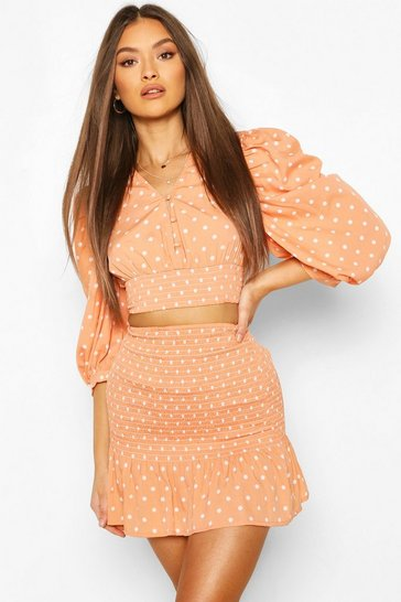 Peach Polka Dot Shirred Puff Sleeve Top And Skirt Co-ord