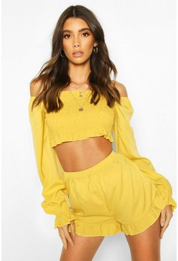 Yellow Woven Shirred Ruffle Top & Shorts Co-ord