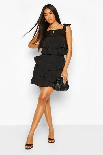 Black Woven Ruffle Tie Crop & Mini Skirt Co-ord Set