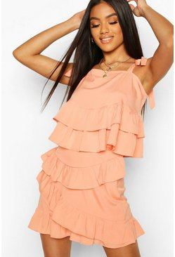 Peach Woven Ruffle Tie Crop & Mini Skirt Co-ord Set