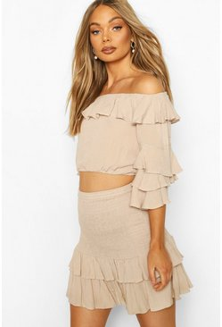 Stone Cheesecloth Off Shoulder Top & Skirt Co-ord Set