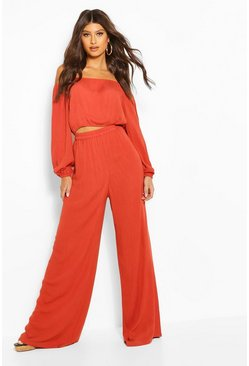 Rust Cheesecloth Off Shoulder Top & Trouser Co-ord