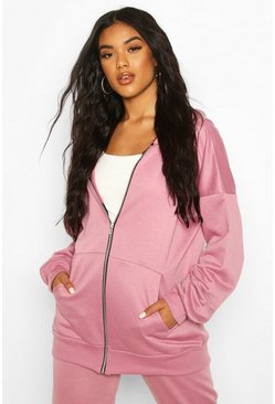 Mink Basic Oversized Zip Through Hoodie