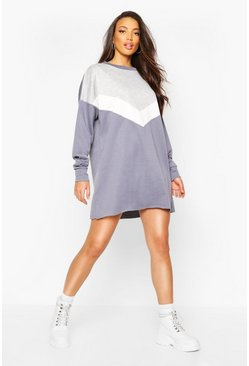 Slate blue Chevron Side Stripe Oversized Sweat Dress