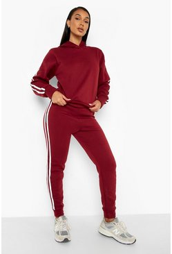 Berry Hooded Fleece Side Stripe Tracksuit