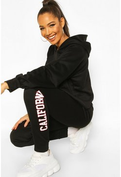 Black California West Coast Crop Hoodie Tracksuit