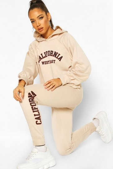 Ecru California West Coast Crop Hoodie Tracksuit