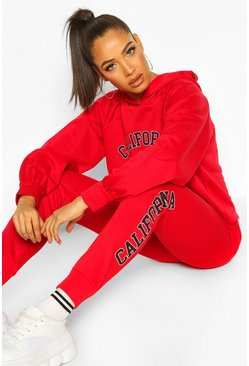 Red California West Coast Crop Hoodie Tracksuit