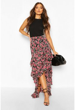 Black Floral Layered Ruffle Hem Maxi Skirt