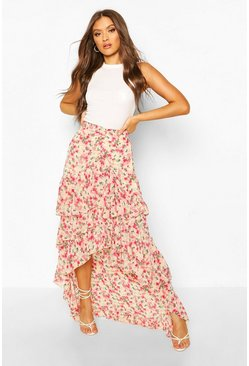 Rose Floral Layered Ruffle Hem Maxi Skirt