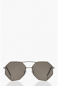Black Hexagon Aviator Sunglasses
