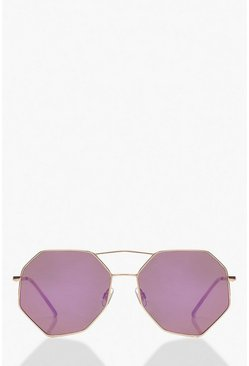 Purple Hexagon Aviator Sunglasses
