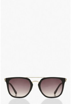 Black Square Aviator Glasses