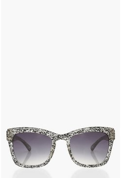 Multi Mono Print Square Sunglasses With Arm Detail
