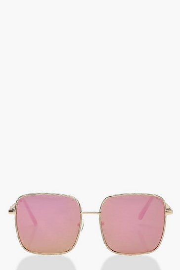 Gold Square Arm Detail Sunglasses