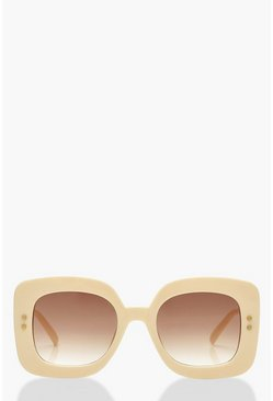 Cream Retro Oversized Sunglasses