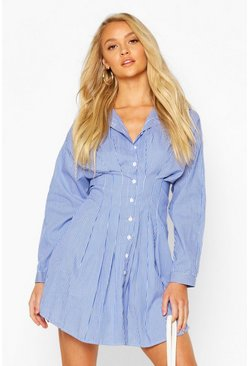 Blue Stripe Drop Shoulder Fitted Shirt Dress