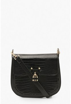 Black Croc Padlock Structured Cross Body Bag
