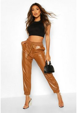 Tan Leather Look Joggers